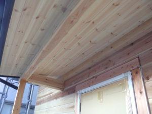 木製天井 塗装前